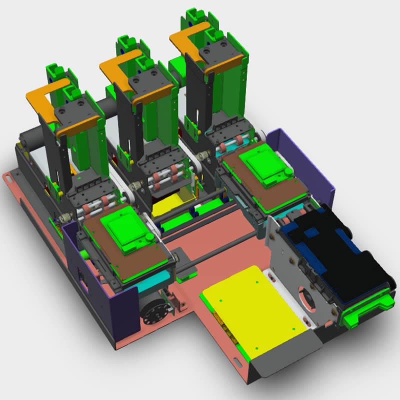 MTK-F32X3 Triple Tray Card Dispenser - 3D view